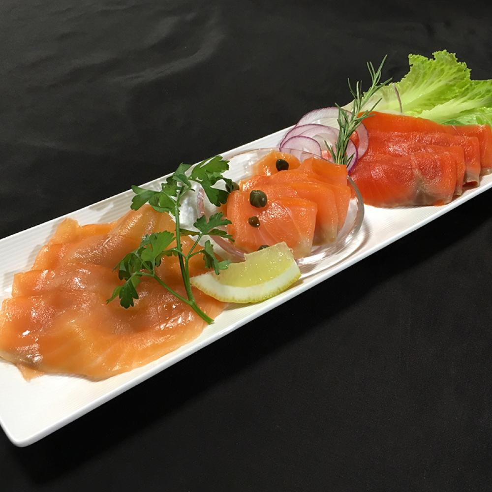 スモークサーモン3種食べ比べセット(特製海鮮ドレッシング付き)